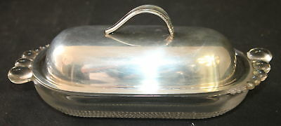 Antique Vintage International Prelude Sterling Silver & Glass Foot Butter Dish