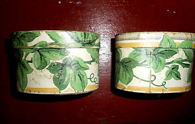 AAFA 2 OVAL WOOD BOXES w/ ANTIQUE PAINTED WALLPAPER & ANTIQUE PRINTED INTERIOR