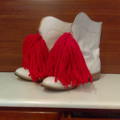 Vintage Women's White Leather Boots Majorette Marching Band Go Go