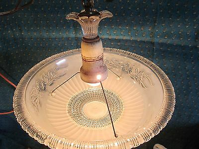 Antique frosted glass  Art Deco LIGHT FIXTURE Ceiling CHANDELIER 1940s