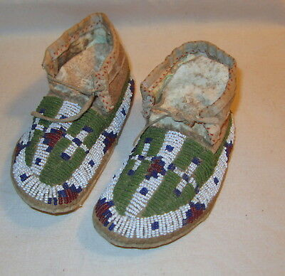 Antique Northern Plains Child's Beaded Moccasins