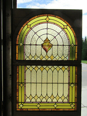 ~ Antique Stained Glass Windows ~ Top And Bottom ~ Architectural Salvage