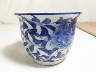 Antique Blue White Chinese Plant Pot Holder Cover