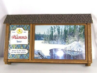 Large Hamm's Vintage Beer Sign 32 x 19 Scene-O-Rama No Motion Sky Blue Waters