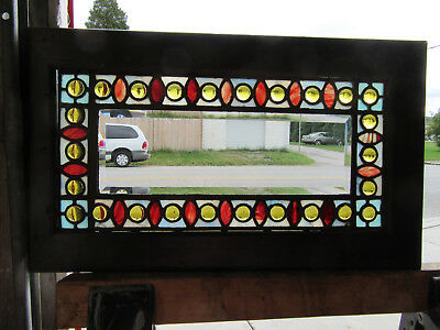 Antique Stained Beveled Glass Transom Window 26 X 15 ~ Architectural Salvage ~