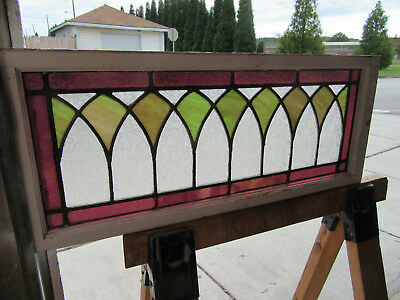 ~ Antique American Stained Glass Transom Window  ~ 32 X 13 Architectural Salvage