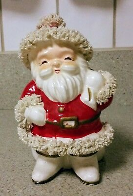 Vintage~Santa Claus~Napco~Candy Cane Holder/planter~Christmas~W/sack~Dish~
