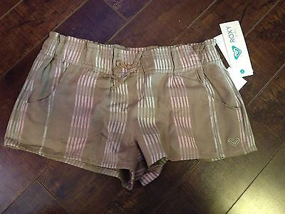 ROXY Girl's Light Brown Elastic Waist Mini Shorts - Size 12 - NWT