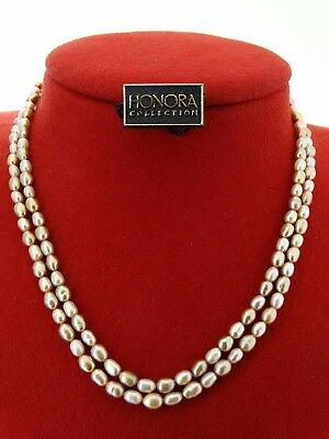 """Double Strand 6.6mm Baroque Powder Almond & Lavender Real Pearl 17"""" Necklace 10K"""
