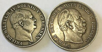 1855-A German States Prussia 1 Thaler And Prussian Funf Mark
