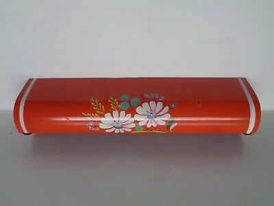 Vintage 1950s Hand Painted Metal Wax or Paper Towel Holder Wall Mount Dispenser