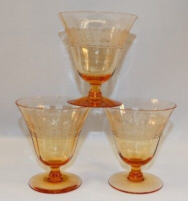 Fostoria Royal 2 Pc Amber Wine Glass