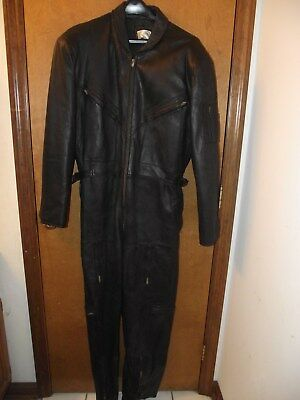 Vintage PAN One Piece Leather Motorcycle Racing Suit / Leather Suit SIZE 50