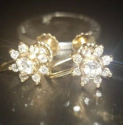 Approximately .5ct tw diamond 14k fine yellow gold earrings vintage unique