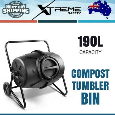 190L Compost Tumbler Bin Steel Composter Garden Bed Dual Twin Food Waste Aerated