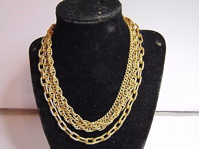 Vintage Miriam Haskell,signed Multi Strand  Gold Tone Necklace