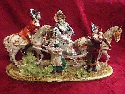 Monumental Dresden Porcelain Kister Scheibe Alsbach Figural Group Horse Carriage