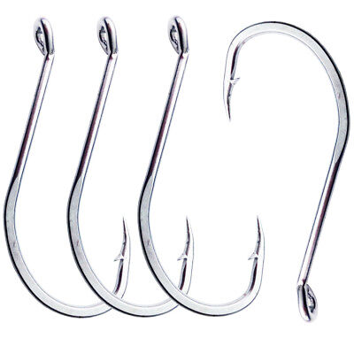 30pcs Stainless Steel Hooks 92554 Long Shank Octopus Fishing Hooks Size 1/0-9/0