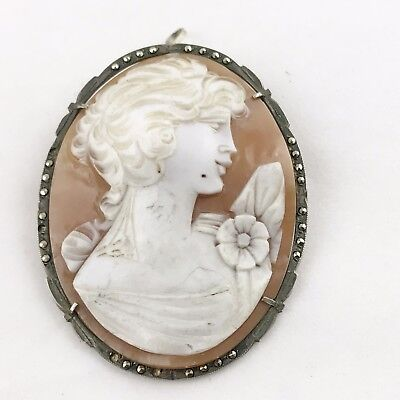 Antique Art Deco Solid Silver  Huge Large Carved Cameo Pin Brooch