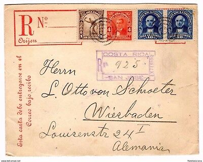 Costa Rica 1911 registered Columbus 20cts envelope uprated with 25cts to GERMANY