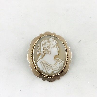 ANTIQUE SOLID 15ct GOLD EARLY VICTORIAN SHELL CAMEO PIN BROOCH VINTAGE