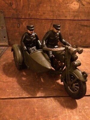 Cast Iron Hubley Motorcycle Side Car Antique Driver Vintage Toy