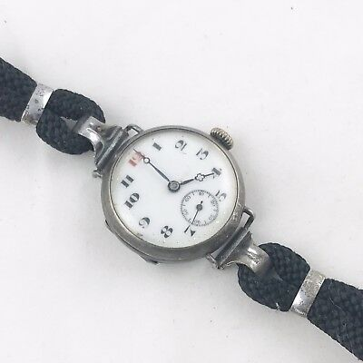 Antique Ww1 Solid Silver Trench Watch Wristwatch Officers