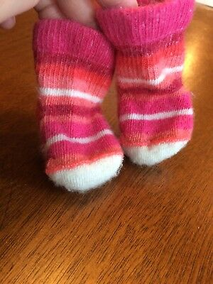 Smartwool Baby Bootie Merino Wool Infant Socks Bright Coral Pink Stripes 0-6 Mos