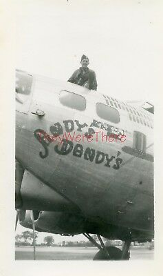 WWII photo- 100th BG- ID'D PILOT & B-17 Bomber plane Nose Art -ANDY'S DANDY'S- 2