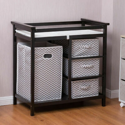 Black Infant Baby Changing Table w/3 Basket Hamper Diaper Storage Nursery New