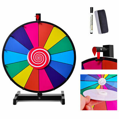 """18"""" Tabletop Editable Dry Erase Color Prize Wheel 14 Slot Fortune Spinning Game"""