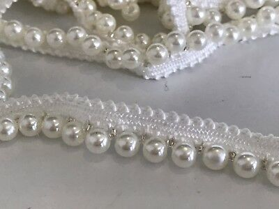 Pearl Beaded Trim Braid Lace Applique Fringe DIY Craft Price per 30cm Wedding