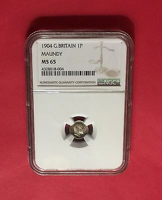Great Britain -Uncirculated 1904 Maundy Silver Pence  Ngc Ms65.