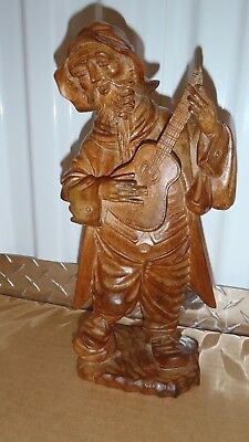 Vintage Hand Carved Black Forest Wooden MAN PLAYING GUITAR Figurine AWESOME