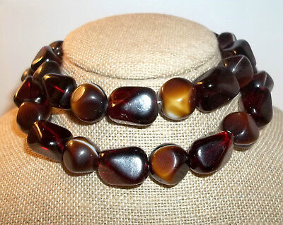 """Rich Fall Vintage GERMANY GLASS Bead Necklace Strand Amber Brown Carmel 28"""""""