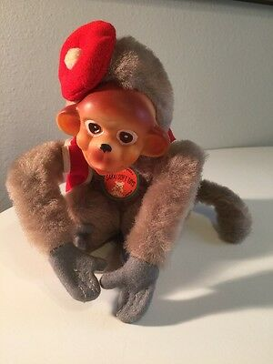 Toy Doll RUBBER FACE Stuffed MONKEY Bellhop Japan CHIMP VTG 50s NWT Collectable