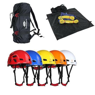 Rope Bag Ground Sheet + Safety Helmet for Rock Climbing Caving Rappelling Rescue