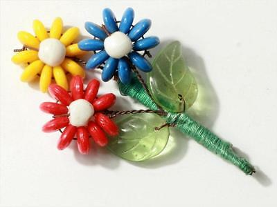 Czech Vintage art glass wired rondelle beaded Flower bouquet leaf pin brooch