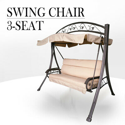 ║20% OFF║Outdoor 3 Seat Swing Chair Canopy Hanging Chair Garden Bench Seater