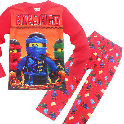 New Kids Boys NINJAGO Cartoon Long sleeve T shirt & pant Set Pyjamas Set