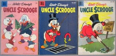 Lot of 3 UNCLE SCROOGE, 1950s Dell / Disney Comic Books #23, #26, #31