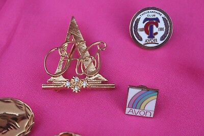Lot Of 5 Vintage Avon Pins-10Kt Thousandaire Club 100 Honor Society