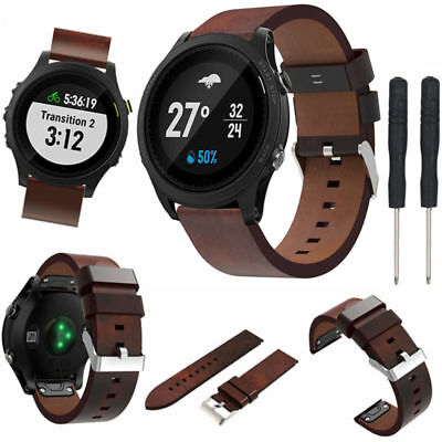 Genuine Leather Watch Bracelet Band Strap For Garmin Fenix 5 Forerunner 935