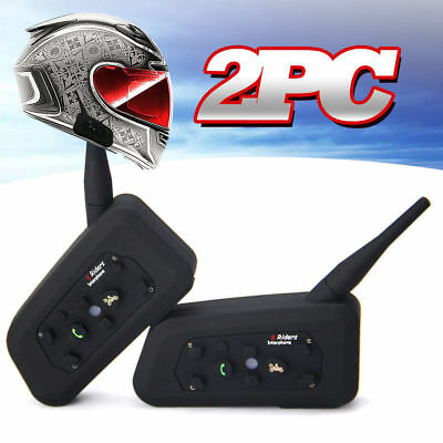 2x BT Bluetooth Interphone Wireless Motorcycle Helmet Intercom 6 Riders 1200M V6