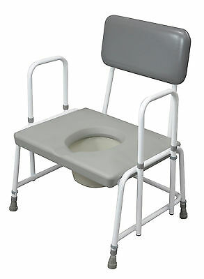 New Bariatric Height Adjustable Commode Chair With Removable Arms & Pail