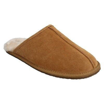 Mens Clarks Tan Suede Slip On Fur Lined Mule Slippers Shoes Size Crackling Fire
