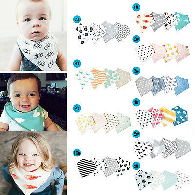 4X Infant Kids Baby Burp Feeding Saliva Towel Dribble Triangle Bandana Bibs Love