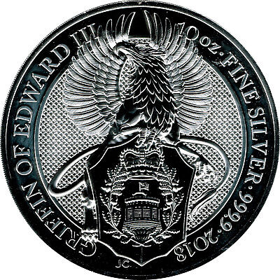 10 oz Queen´s Beast Griffin of Edward III.- 2018 - 311g 999/1000 ag Silber