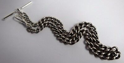 Fantastic antique graduated solid sterling silver pocket watch albert chain