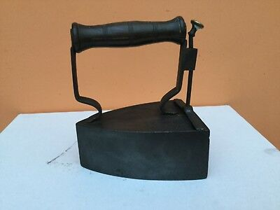 Vintage Antique Cast Iron Flat iron / Box iron with Wooden Handle